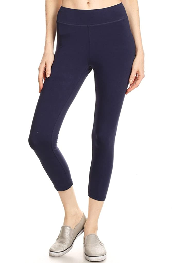 5127bdb4c60dfb 2ND DATE Women's Basic Cotton Stretch Leggings with Comfort Waistband