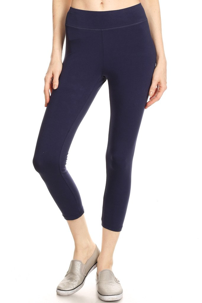 2ND DATE Women's Basic Cotton Stretch Leggings with Comfort Waistband