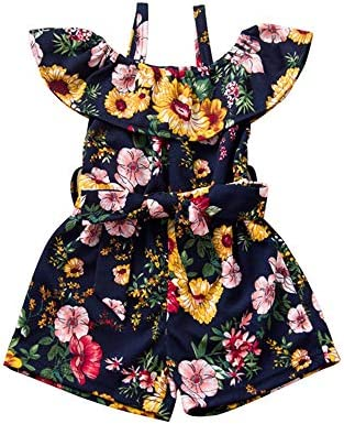 Toddler Baby Girl Floral Off The Shoulder Romper Halter Jumpsuit One Piece Outfit Summer Clothes