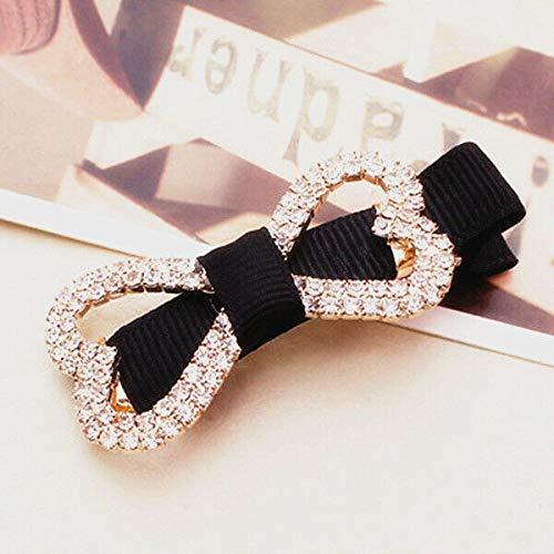 - Women Girl Vogue Hairpin Gold Silver Animal Geometry Flower Hair Clip Barrette (Patterns - Bow Tie (Black))