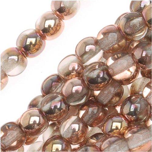 Czech Glass Druk Round Beads 4mm Apollo Gold (100) ()