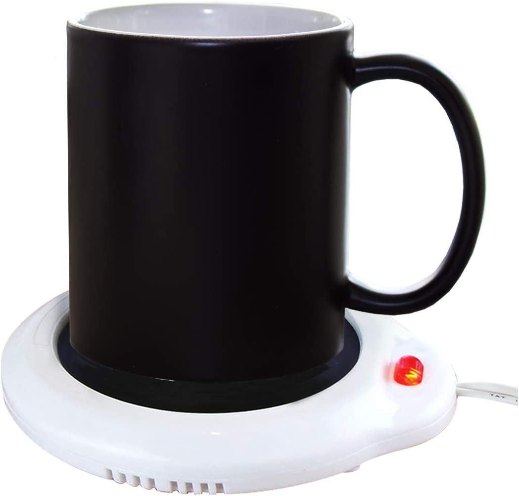 Eutuxia Mug Warmer for Home & Office. Great for Warming Up Cups, Coffee Mugs, Wax, and Beverages on Desks, Tables & Countertops. Electric Heated Plate Warms Quickly. Enjoy Hot Drinks on Cold Days.