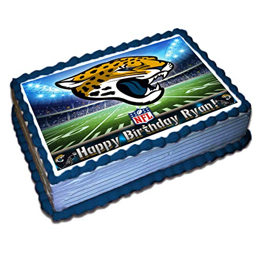 Jacksonville Jaguars NFL Personalized Cake Topper Icing Sugar Paper 8.5 x 11.5 Inches Sheet Edible Frosting Photo Birthday Cake Topper (Best Quality Printing)