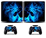Cosines PS4 Slim Stickers Vinyl Decal Protective Console Skins Cover for Sony Playstation 4 Slim and 2 Controllers Blue Fire