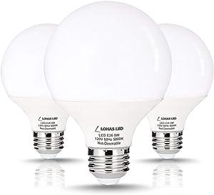 LOHAS G25 LED Globe Light Bulbs, 9W Vanity Round Light Bulb (60W Equivalent) 800LM, E26 Base Daylight 5000K Globe Light Bulbs, G25 LED for Makeup Mirror, Bathroom, Dressing Room, Not-Dimmable, 3 Pack