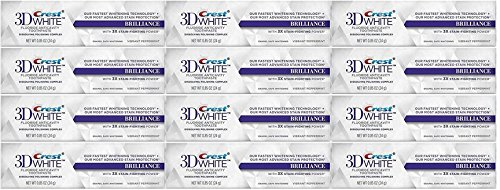 Crest 3D White Brilliance Whitening Toothpaste, Vibrant Peppermint, Travel Size, TSA Approved, 0.85 Ounce (Pack of 12)