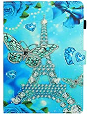 Jorisa Case Compatible with iPad Mini 1/2/3/4/5,Slim Leather Magnetic Auto Wake/Sleep Smart Cover Flip Folio Wallet Stand Case with Pencil Holder Card Slots,Butterfly Tower
