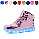 Kids LED Light Up High-top Shoes Rechargeable Hi-Shine Glowing Sneakers for Boys and Girls Child Unisex(pink01,US3/CN35)