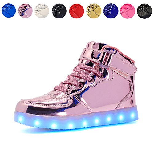 Voovix Kids LED Light up High-top Shoes Rechargeable Hi-Shine Glowing Sneakers for Boys and Girls Child Unisex(pink01,US3.5/CN36)