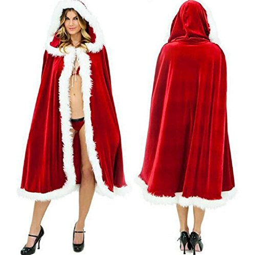 Female Claus Costumes Santa (Timberlark Women Santa Claus Cloak,Christmas Hooded Dress Costume Cape Long Cardigan Gifts,Red)