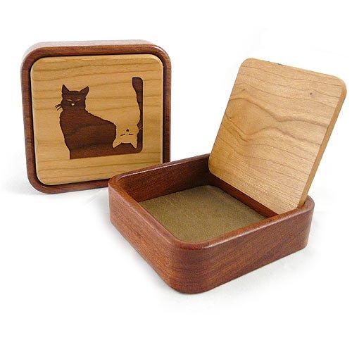 Cherry Keepsake Box - Yin Yang Cat Keepsake/Jewelry Box, 4.5