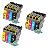12PK GoToners Brother LC203 BK C M Y New Compatible Black and Color inkjet Combo Set for Brother MFC-J4320DW/J4420DW/J460DW