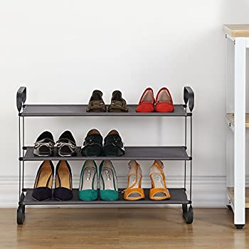 3 tier shoes rack 12 pairs shoes stand organizer with gray polyester shelves
