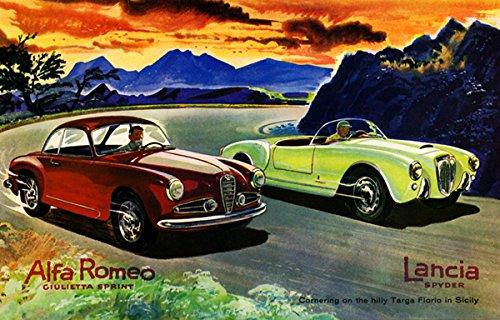 1955-alfa-romeo-ciulietta-sprint-and-lancia-spyder-on-the-targa-florio-promotional-advertising-poste