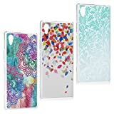 Sony Xperia XA1 Case,Badalink 3 Pcs Ultra Thin Clear Hard PC Case Slim-Fit Painting Design Anti-Scratch Resistant Bumper Anti-Fingerprints Non-slip Lightweight Case Cover for Sony Xperia XA1,Group 3
