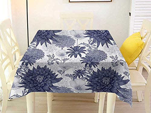 L'sWOW Square Tablecloth Wedding Dahlia Flower Dotted Digital Paint of Dahlia Botanical Curved Rolled Wild Ray Blunts Design Blue White Waterproof 70 x 70 Inch