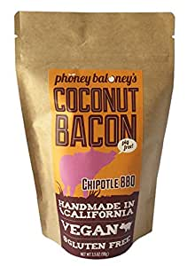 Chipotle BBQ Toasted Coconut Bacon Chips Two 3.5 Oz Bags of Crispy Coconut Snack Chips Gluten Free by Phoney Baloney