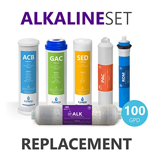 Express Water - Alkaline Reverse Osmosis System Replacement Filter Set - 6 Filters with 100 GPD RO Membrane, Carbon (GAC, ACB, PAC) Filters, Sediment (SED) Filters - 10 inch Size Water Filters