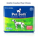 Pet Soft Disposable Boy Dog Diapers for Male Dogs, Super Absorbent Male Wraps,36 Counts (S)