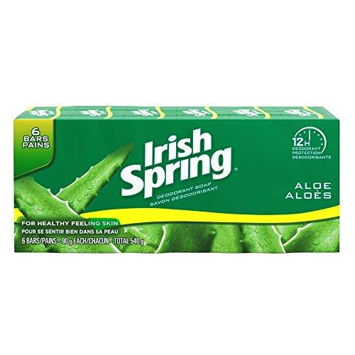 Irish Spring Aloe Deodorant Bar Soap, 6x90g