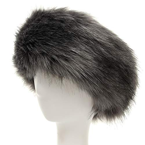 Faux Fur Headband with Elastic for Women's Winter Earwarmer Earmuff (Grey) by soul young