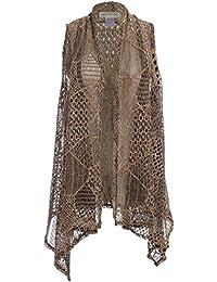 Womens Sleeveless Open Front Crochet Shawl Cardigan Bikini Cover Up