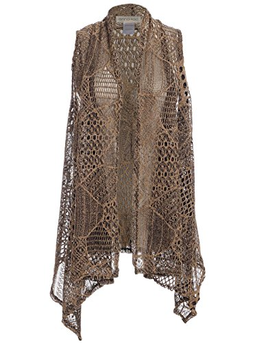 Anna-Kaci Womens Sleeveless Open Front Crochet Shawl Cardigan Bikini Cover Up, Brown, Large/X-Large