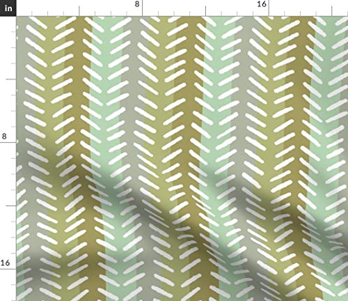 (Natural Herringbone Fabric - In Abstract Gray Mustard Stripes Dots Geometric Modern Home Decor Mint Green Print on Fabric by the Yard - Basketweave Cotton Canvas for Upholstery Home Decor Bottomweight)