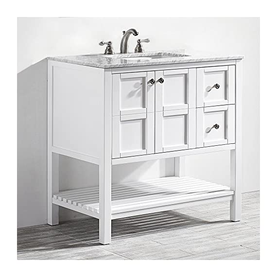 "Vinnova 713036-WH-CA-NM Florence 36"" Vanity in White with Carrera Marble Countertop Without Mirror, Inch - Solid Oak Wood with Laminated Veneer Panels Lends eclectic flair to any bathroom decor Ample space for toiletries - bathroom-vanities, bathroom-fixtures-hardware, bathroom - 51N IPu2PjL. SS570  -"