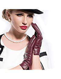MATSU Simple Sytle Women Winter Warm Lambskin TouchScreen Cashmere Lined Leather Gloves 7 Colors M9022