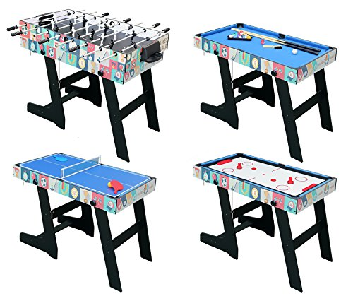 HLC 4 In 1 Multi Sports Game Table Combo Table  Pool Table/ Air Hockey  /Mini Table Tennis Table/ Football Table With Folding Legs, 4 Ft:  Amazon.co.uk: ...