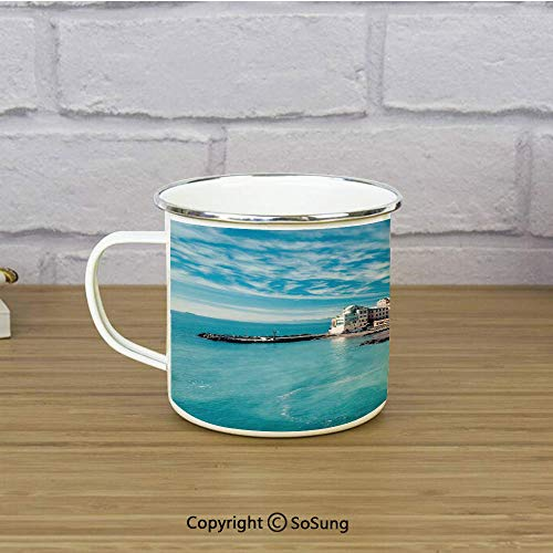 Farm House Decor Travel Enamel Mug,Panorama of Old Italian Fish Village Beach Old Province Coastal Charm Image,11 oz Practical Cup for Kitchen, Campfire, Home, TravelTurquoise ()