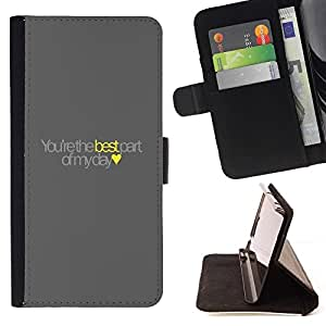 Momo Phone Case / Flip Funda de Cuero Case Cover - Meilleur texte Love Heart Jaune - Samsung Galaxy Core Prime