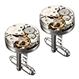 #6: Cufflinks,Baban Deluxe Steampunk Mens Cufflinks Vintage Watch Movement Shape Cufflinks Gift for Men/Father's Day/Lover/Friends/Wedding/Anniversaries/Birthdays with A Elegant Box