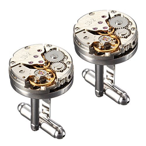Watch Cufflinks Silver Movement - Cufflinks,Baban Deluxe Steampunk Mens Cufflinks Vintage Watch Movement Shape Cufflinks Gift for Men/Father's Day/Lover/Friends/Wedding/Anniversaries/Birthdays with A Elegant Box