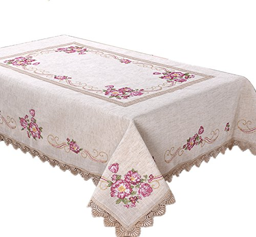 Just-Enjoy Lace Embroidered Flower-Lace Design Tablecloth Table Runners (36''x36'', Pink Flowers) (Lace Runner 36')