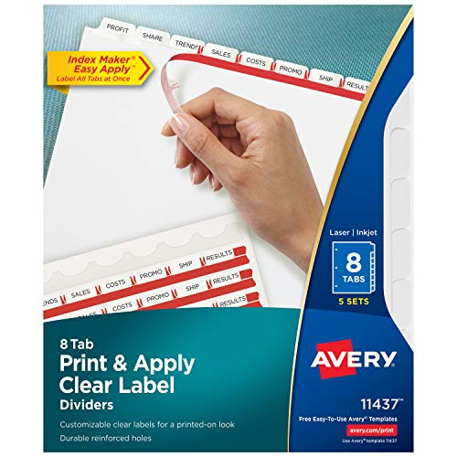 Avery 8-Tab Binder Dividers, Easy Print & Apply Clear Label Strip, Index Maker, White Tabs, 5 Sets (11437) ()