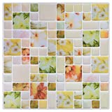 HUE DECORATION 10-Pack Floral Wall Backsplash Sticker, Bedchamber Peel and Stick Tiles for Women Baby 10'' x 10''