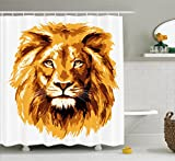 Ambesonne Safari Decor Shower Curtain, Illustration of The Lion King Biggest Cat in Africa Icon Animal in Tropics Artwork, Fabric Bathroom Set with Hooks, 69W X 70L inches, Amber and White