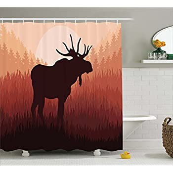 Moose Shower Curtain Set by Ambesonne, Antlers in Wild Alaska Forest Rusty Red Abstract Landscape Design Deer Theme Woods Print, Bathroom Decor with Hooks, 69W X 70L Inches, Peach and Dark Brown