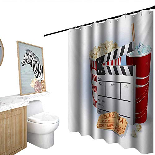 homecoco Movie Theater Polyester Fabric Shower Curtain Soda Tickets Fresh Popcorn and Clapper Board Blockbuster Premiere Cinema Shower Curtains in Bath -