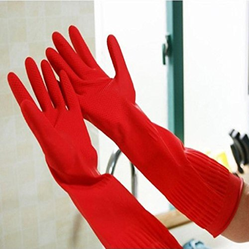 Housework Gloves TOOPOOT Waterproof Rubber Latex Gloves for Dish Washing Laundry (Red) by TOOPOOT (Image #4)