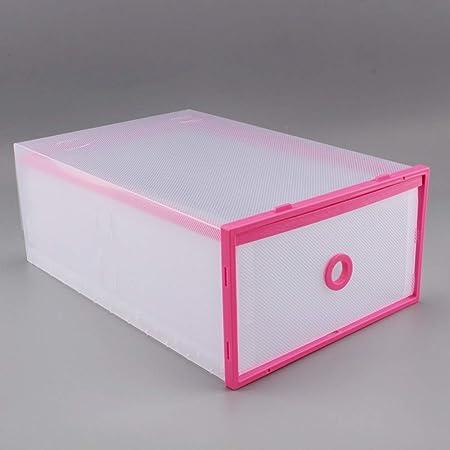 Caja De Almacenamiento De Zapatos, Embalada con 8 Cajas De Zapatos Plegables Transparentes, Caja De Plástico Transparente Y Doble, Color Rosa 29 Cm X 20 Cm X 12 Cm: Amazon.es: Hogar