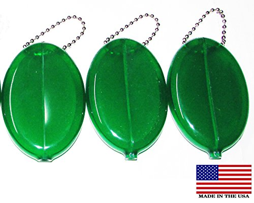 3 GREEN RUBBER SQUEEZE COIN HOLDER - Pocket Holder Coin