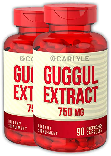 Carlyle Guggul Extract 750 mg Guggulsterone 180 Capsules | Supports Healthy Cholesterol Levels | Non-GMO and Gluten Free Supplement Review