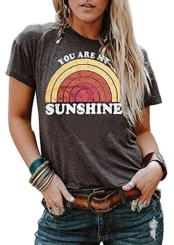 Women's Short Sleeve Tops Sunshine Cotton Print Tee Shirts Summer Outfit Casual Tunic Blouses (Gray,L)