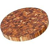 Teak Cheese Board - Circular End Grain Cutting Board And Butcher Block (18 x 2 in.) - By Teakhaus