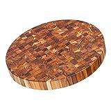 Teak Cutting Board - Circular End Grain Cheese Board And Butcher Block (18 x 2 in.) - By Teakhaus