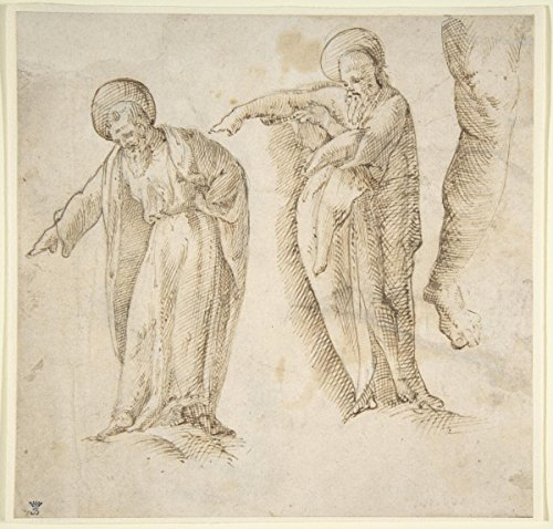 """Drawing """"Studies for the Standing Figure of a Bearded Man""""   Artist: Anonymous, Italian, 16th century  Created: 1530–50   Antique Vintage Fine Art Print Reproduction"""