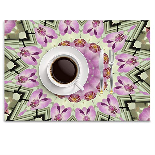 UTRgdfsvxc Place Mats Washable Fabric Placemats for Dining Room Kitchen Table Decor - Mandala Orchids Kaleidoscope Pattern